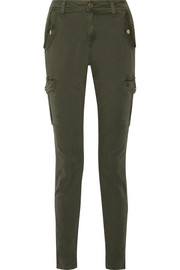 Stretch-cotton twill straight-leg pants
