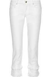 Frayed cropped mid-rise straight-leg jeans