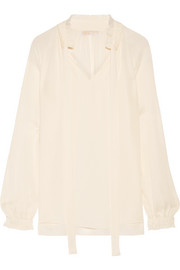 MICHAEL Michael Kors Pussy-bow silk-georgette blouse