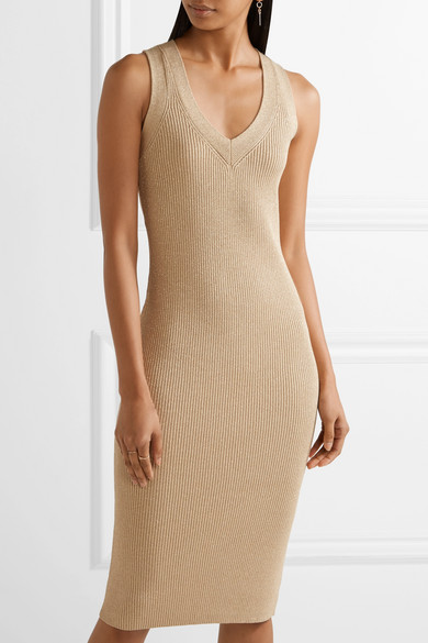 Michael michael kors metallic ribbed stretch knit dress for Net a porter