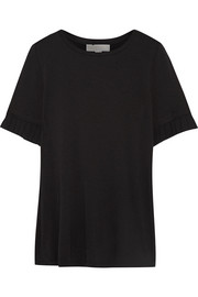 MICHAEL Michael Kors Pleated chiffon-trimmed stretch-jersey T-shirt