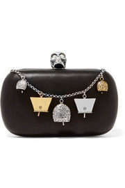 Alexander McQueen Embellished leather box clutch