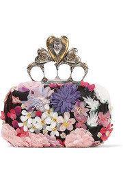 Knuckle floral-appliquéd satin clutch