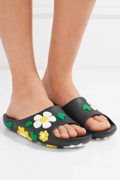 Prada. Floral-embellished rubber slides