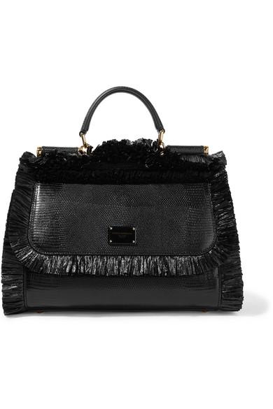 Dolce   Gabbana. Sicily medium raffia-trimmed lizard-effect leather tote a1b86ea7ab2d8