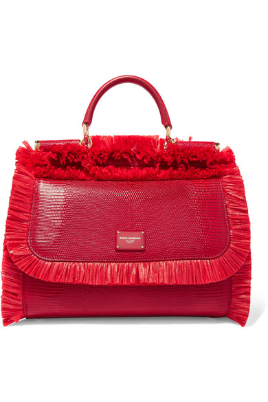 Sicily medium raffia-trimmed lizard-effect leather tote