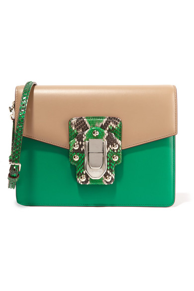 Dolce & Gabbana   Lucia python-trimmed two-tone leather shoulder ...