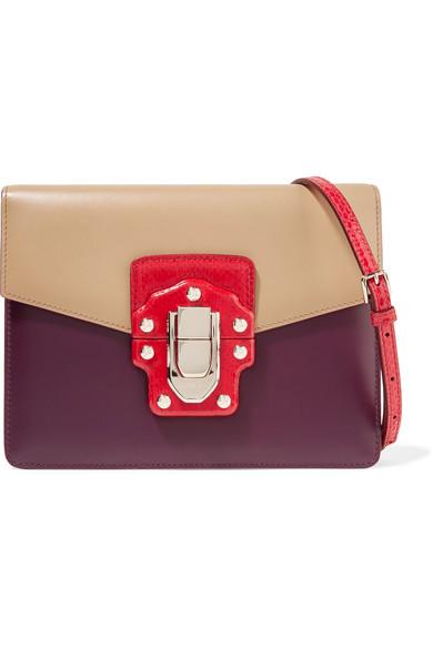 Dolce & Gabbana - Lucia Ayers-trimmed Color-block Leather Shoulder Bag - Plum