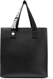 Stargaze printed canvas-trimmed leather tote