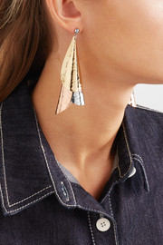 Hammered gold-plated, silver-tone and rose gold-tone earrings