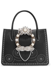 Miu Miu Embellished textured-leather shoulder bag