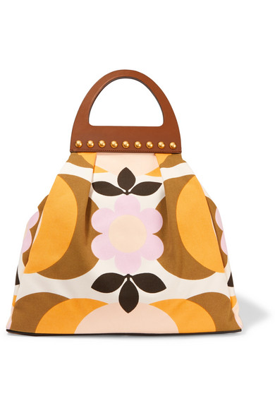 Miu Miu - Studded Leather-trimmed Floral-print Canvas Tote - Yellow
