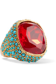Kenneth Jay Lane Gold-plated, crystal and cabochon ring