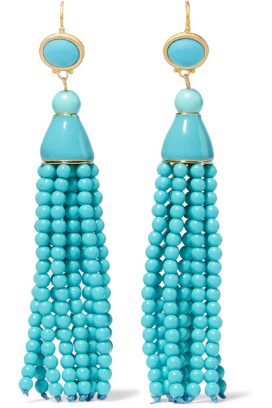 Kenneth Jay Lane - Tasseled Gold-tone Beaded Earrings - Turquoise