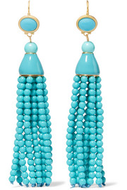 Kenneth Jay Lane Tasseled gold-tone beaded earrings