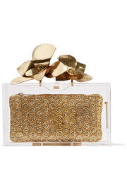 Charlotte Olympia Orchid Pandora metallic leather-trimmed Perspex clutch