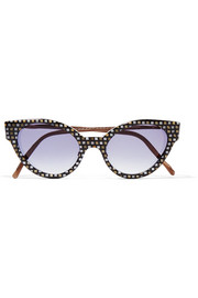 Cutler and Gross Cubist cat-eye leather-trimmed printed acetate sunglasses