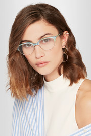 Ariel cat-eye glittered acetate and silver-tone optical glasses