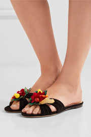 Charlotte Olympia Tropical embellished suede slides