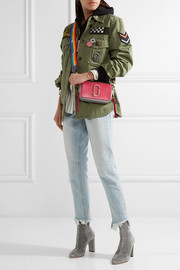 Marc Jacobs Textured leather-trimmed metallic canvas bag strap