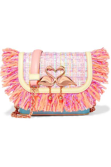 Sophia Webster - Claudie Fringed Tweed And Leather Shoulder Bag - Pastel pink