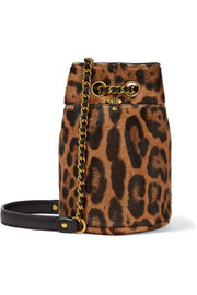 Popeye mini leopard-print calf-hair bucket bag