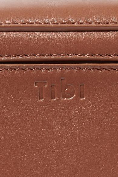 Tibi Garçon Schultertasche aus Leder mit Streifen