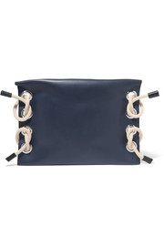 Marni Satelite jute and eyelet-embellished leather clutch