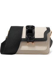 Marni Trunk crystal-embellished leather and canvas shoulder bag