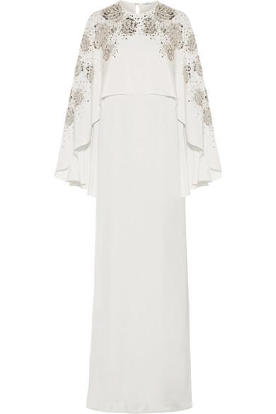 Oscar de la Renta - Cape-back Embellished Silk-satin Gown - Ivory