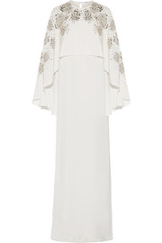 Oscar de la Renta Cape-back embellished silk-satin gown