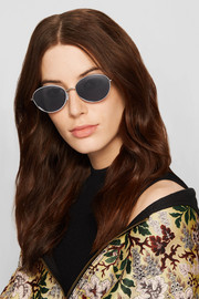 Elizabeth and James Fenn round-frame silver-tone and acetate sunglasses