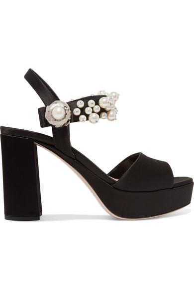 Miu Miu - Faux Pearl-embellished Satin Platform Sandals - Black