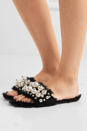 Embellished faux shearling slides
