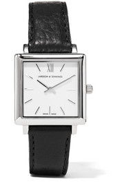 Larsson & Jennings Norse leather and silver-plated watch