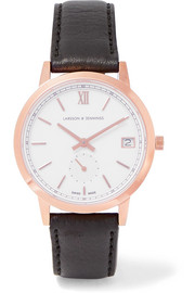Larsson & Jennings Saxon leather and rose gold-plated watch