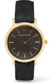 Larsson & Jennings Lugano suede and gold-plated watch