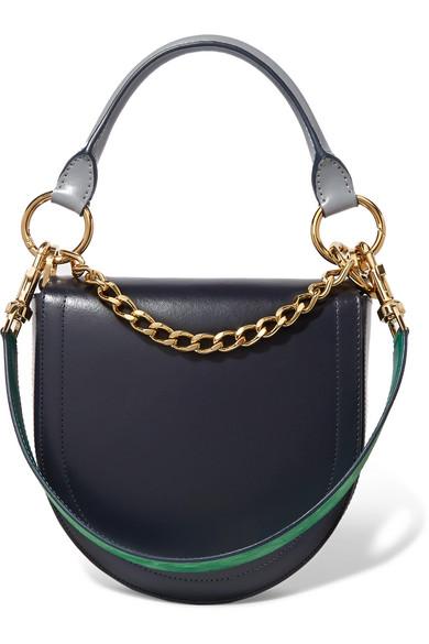 Sacai - Horseshoe Leather Shoulder Bag - Navy