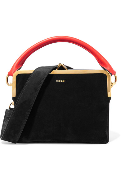 Sacai - Leather And Suede Shoulder Bag - Black