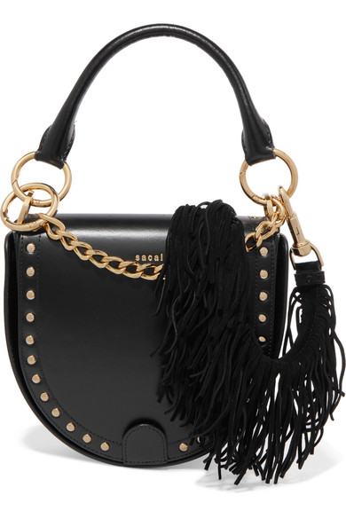 Sacai - Horseshoe Suede-trimmed Studded Leather Shoulder Bag - Black