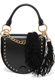 Sacai Horseshoe suede-trimmed studded leather shoulder bag
