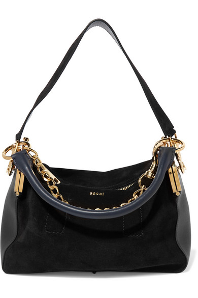 Sacai - Coin Purse Suede And Leather Shoulder Bag - Black