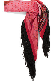 Fringed printed satin scarf