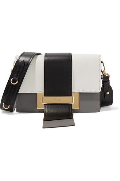 6ffbd3ff9bac3a Prada | Metal Ribbon color-block leather shoulder bag | NET-A-PORTER.COM