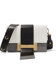 Ribbon color-block leather shoulder bag