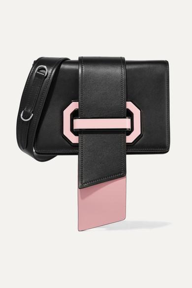 Prada Ribbon Plexi zweifarbige Schultertasche aus strukturiertem Leder