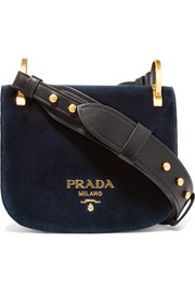 Prada Pionnière leather-trimmed velvet shoulder bag