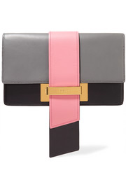 Ribbon large color-block leather clutch