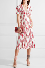 Miu Miu Printed crepe de chine wrap midi dress