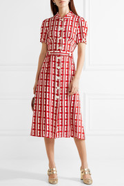 Miu Miu Printed crepe de chine midi dress